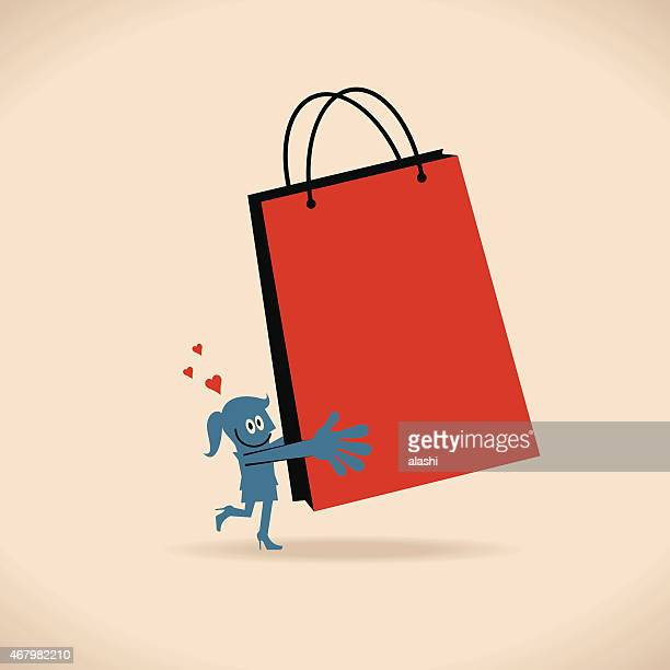 Smiling shopping women standing on one leg with shopping bag
