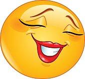 Smiling shyly female emoticon