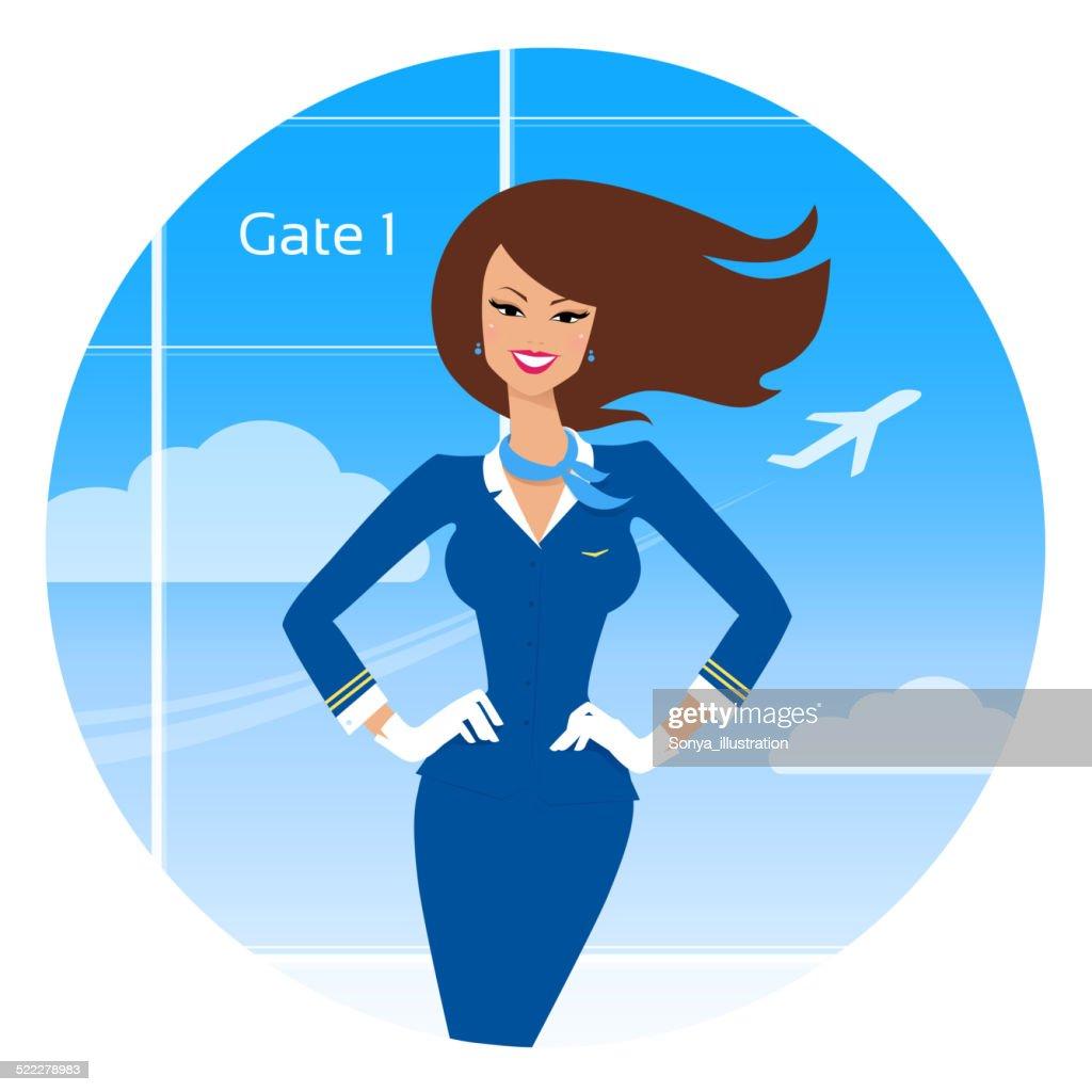 Smiling stewardess.