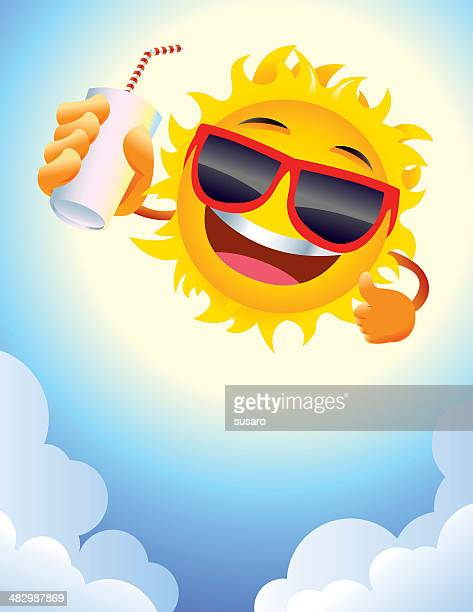 Smiling Summer Sun Cartoon Character with cool Sunglasses