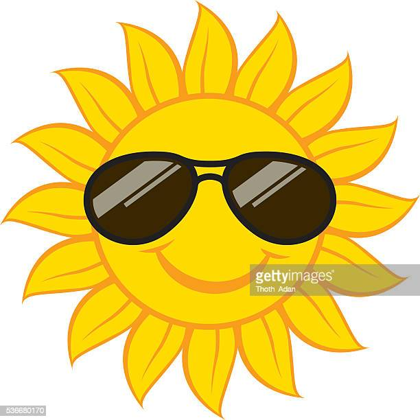 Smiling sun face with sunglasses