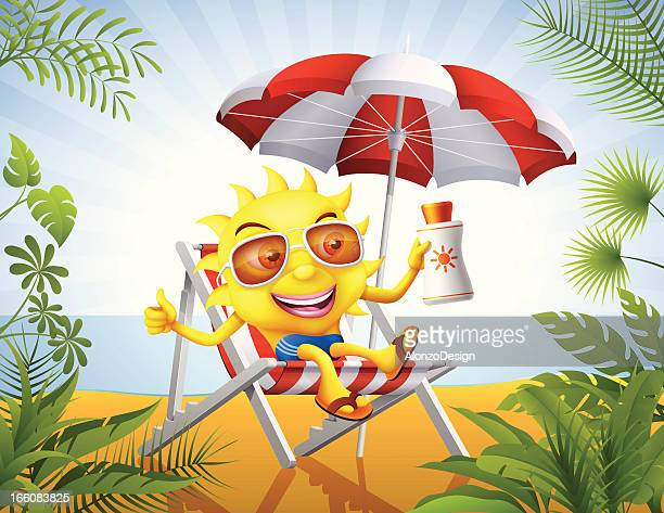 Smiling Sun with Suntan Lotion
