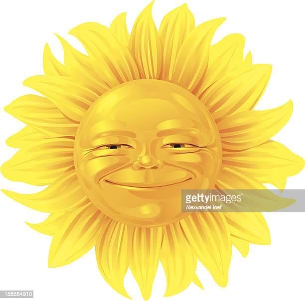 ilustraciones, imágenes clip art, dibujos animados e iconos de stock de cara sonriente girasol - sol en la cara