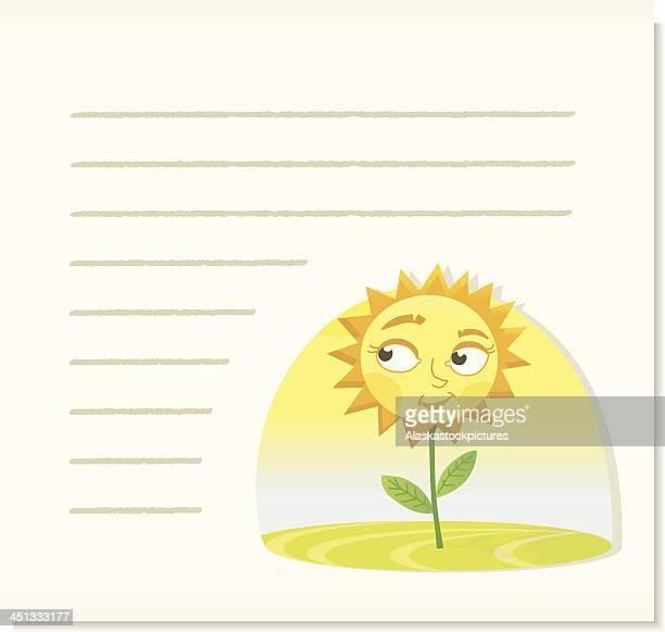 smiling sunflower on noticepaper. - sonnig stock illustrations