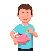 Smiling teenage boy kid saving money holding piggy bank putting coin money into it. Finance and economy flat vector clipart illustration.