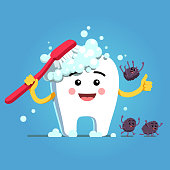 Smiling tooth character brushing himself with toothbrush & toothpaste foam. Germs falling down, fleeing, running away. Flat isolated vector