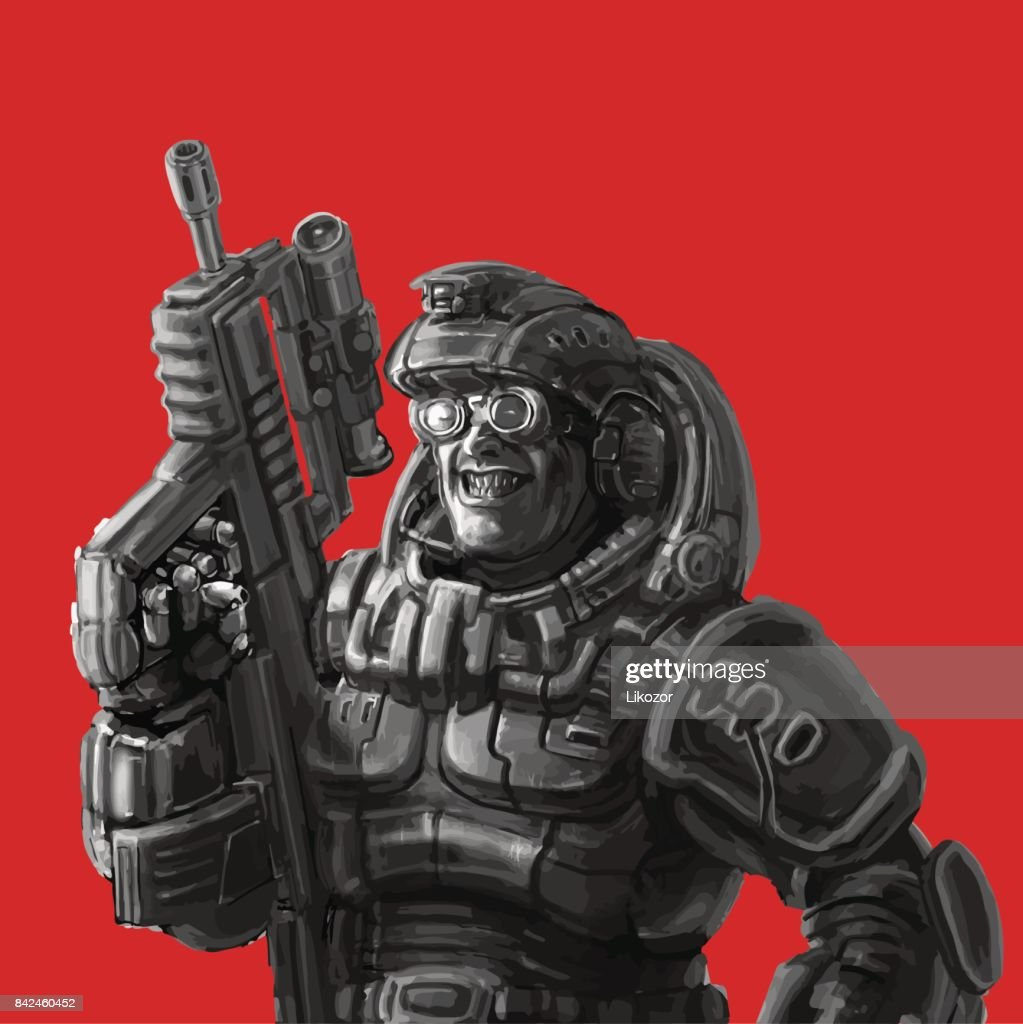 Smiling trooper in fantastic suit. Vector illustration.