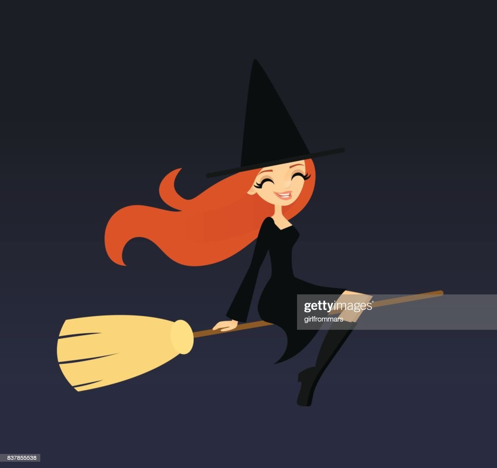 Smiling witch flying on a broom