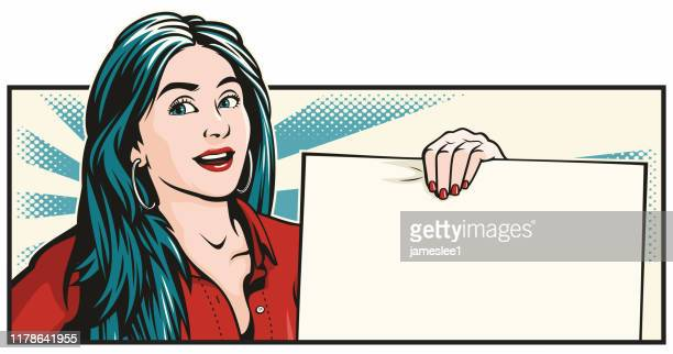 smiling woman holding blank sign - wide screen stock illustrations