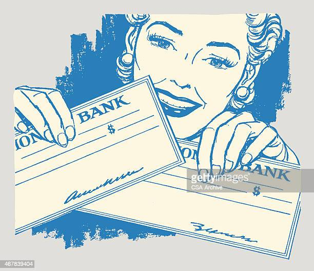 smiling woman holding checks - paycheck stock illustrations, clip art, cartoons, & icons