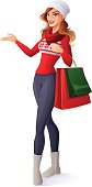 Smiling woman in Christmas outfit with shopping bags presenting.