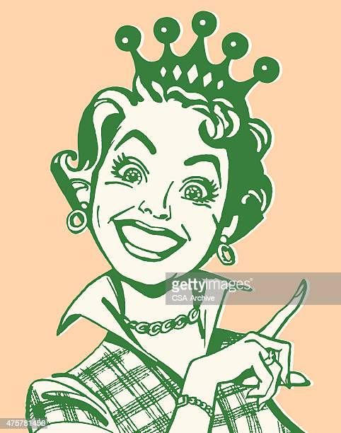 Smiling Woman Pointing and Wearing Crown