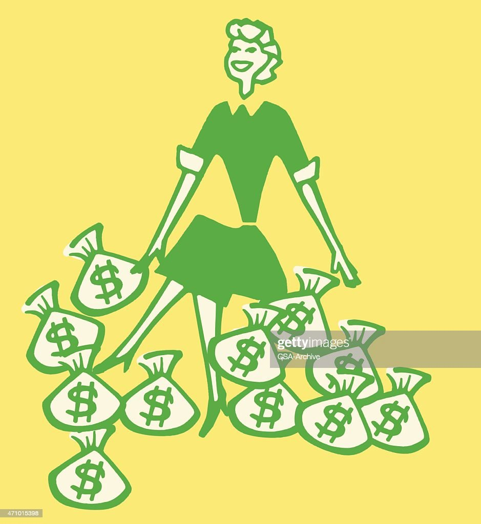 smiling woman with bags of money vector art getty images