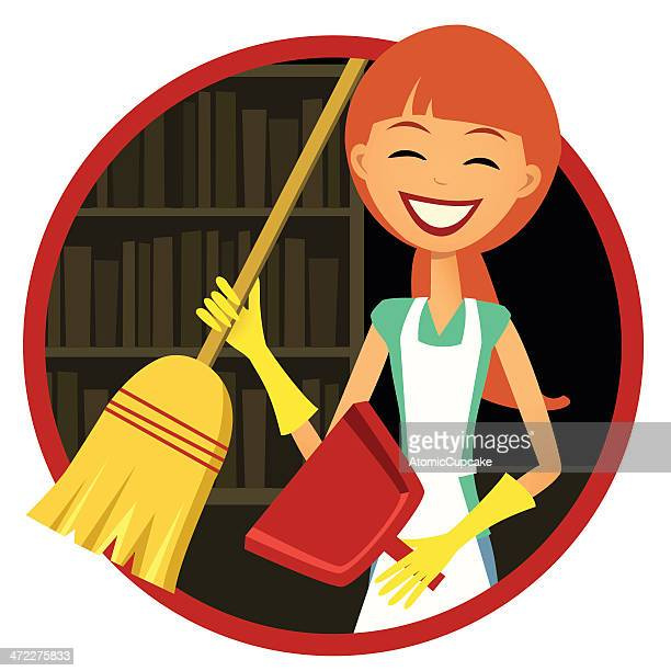 smiling woman with broom and dust pan - dustpan stock illustrations, clip art, cartoons, & icons