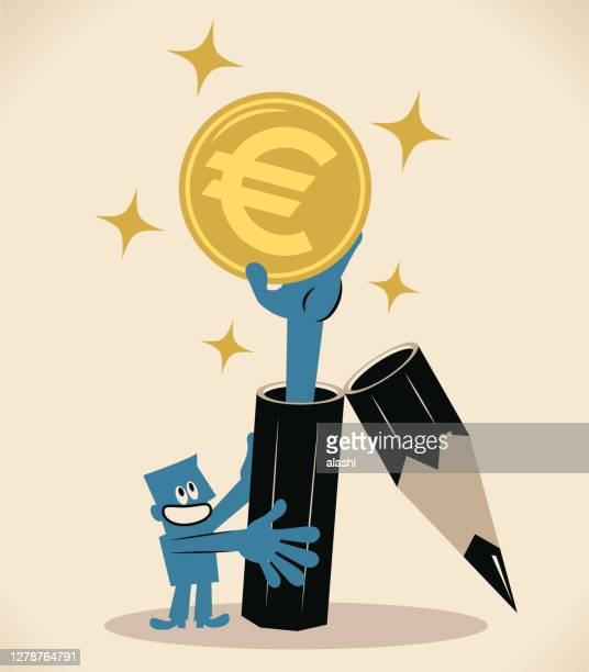 ilustrações de stock, clip art, desenhos animados e ícones de smiling writer (editor, translator) lives by his pen; a big pencil is opened and a hand is coming out of it giving euro sign european union currency money - nicho