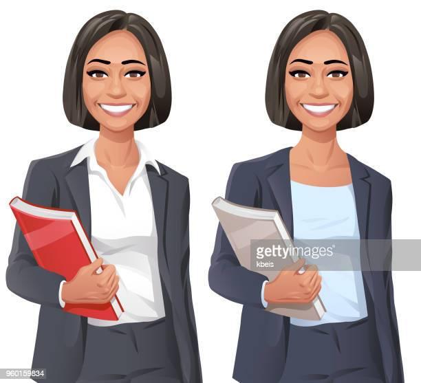 lächelnde junge geschäftsfrau - attraktive frau stock-grafiken, -clipart, -cartoons und -symbole