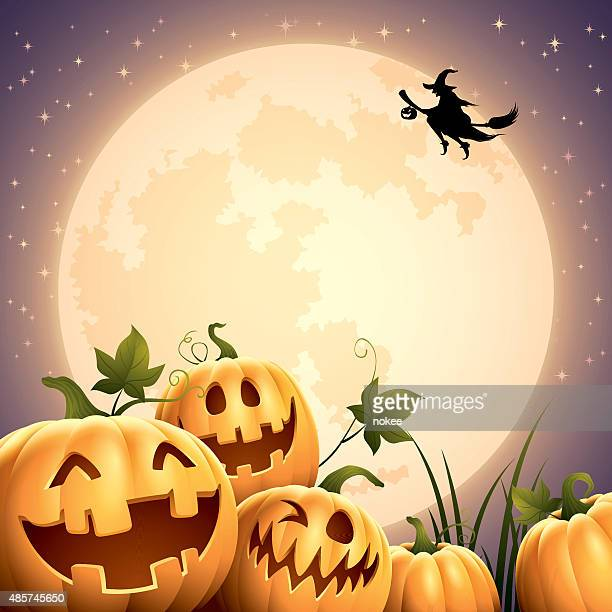 ilustraciones, imágenes clip art, dibujos animados e iconos de stock de smilly pumpkins-big moon - halloween