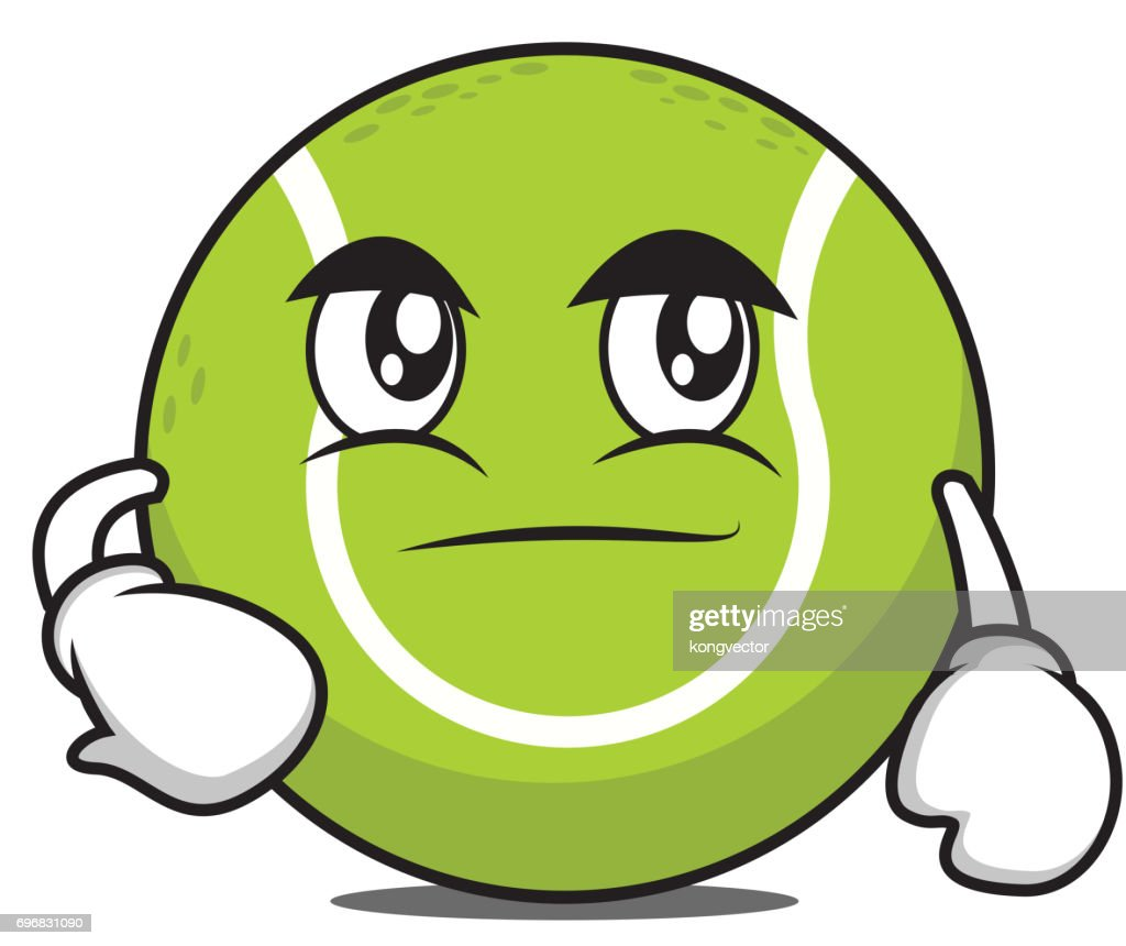 Smirking tennis ball cartoon character vector illustration