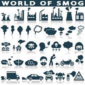 Smog, pollution icons set