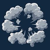 Smoke cloud Explosion. Dust puff cartoon frame vector