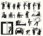 Smokers Smoking Stick Figure Pictogram Icons