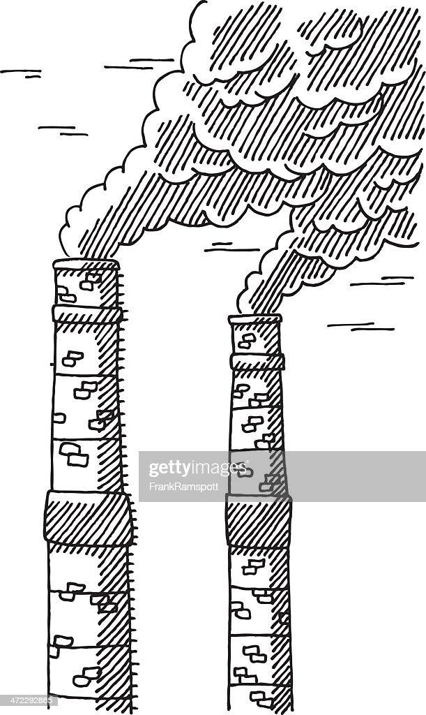 Smokestack air pollution drawing vector art
