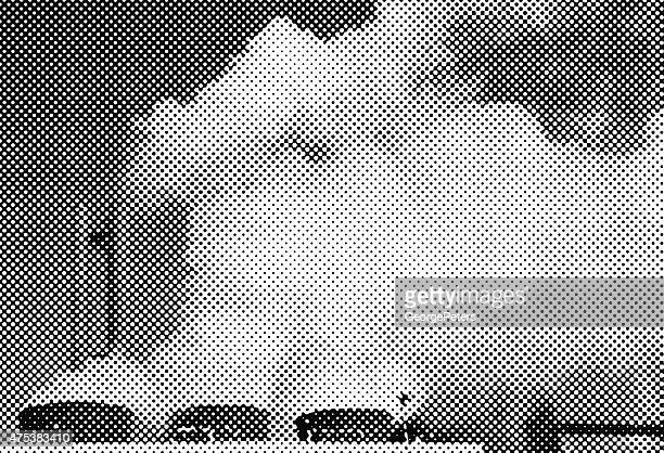 smokestacks pollution. halftone pattern. background - silk screen stock illustrations