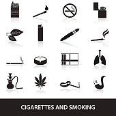 smoking and cirarettes simple black icons set eps10