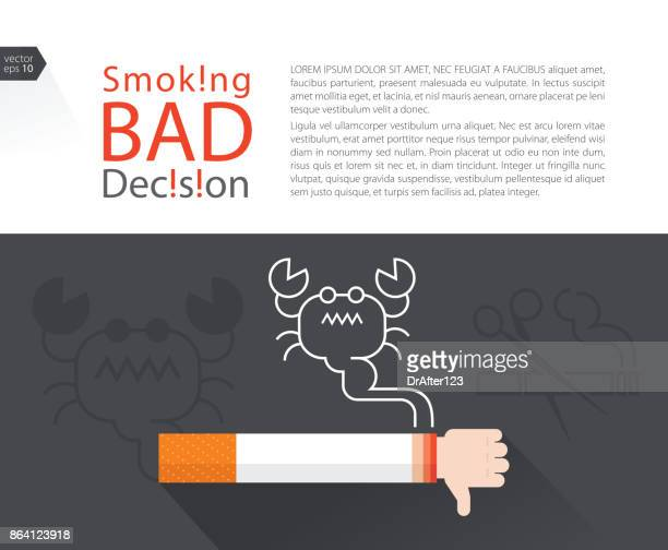 smoking bad decision with text layout - quitting smoking stock illustrations, clip art, cartoons, & icons