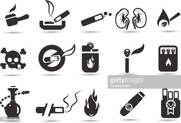 ilustrações, clipart, desenhos animados e ícones de conjunto de ícones para fumantes - baseado