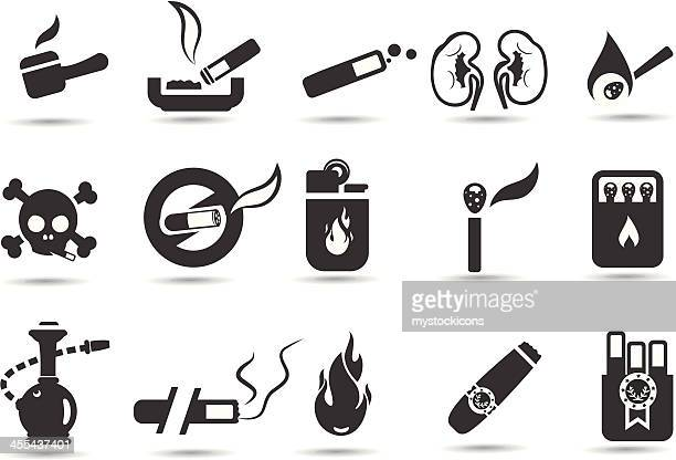 smoking icon set - hookah stock illustrations, clip art, cartoons, & icons