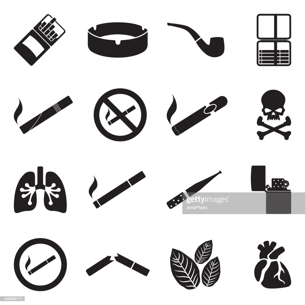 Smoking Icons. Black Flat Design. Vector Illustration.