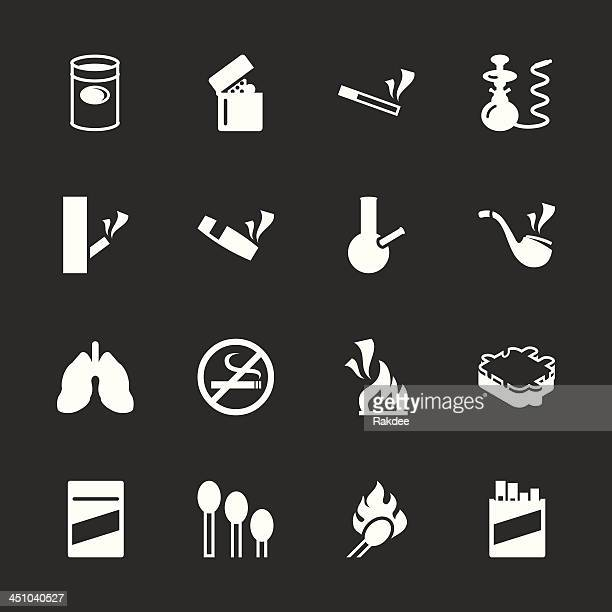 smoking icons - white series | eps10 - hookah stock illustrations, clip art, cartoons, & icons