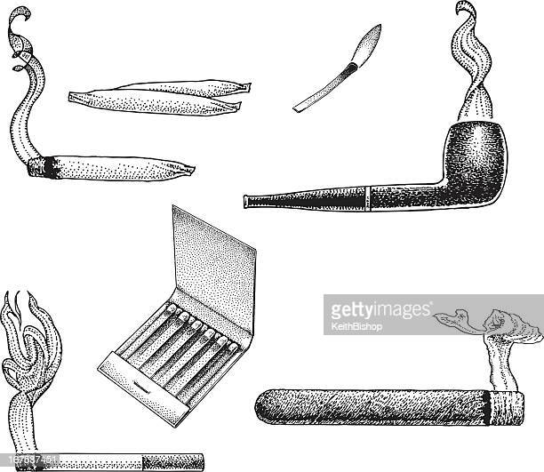 smoking items - pipe, cigarette, joint, cigar, matches - marijuana joint stock illustrations, clip art, cartoons, & icons