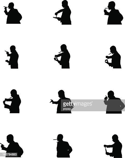 smoking men - smoking issues stock illustrations, clip art, cartoons, & icons