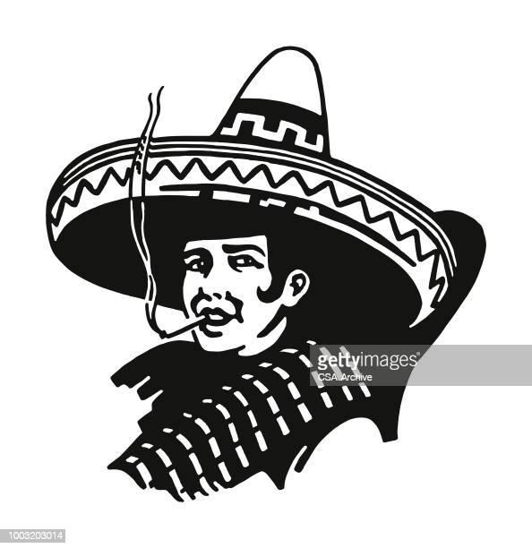 illustrazioni stock, clip art, cartoni animati e icone di tendenza di smoking person wearing a sombrero - sombrero