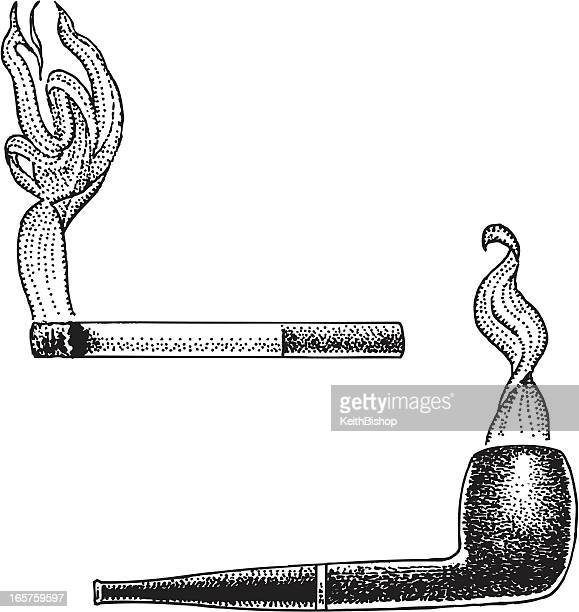 smoking - pipe and cigarette - pipe smoking pipe stock illustrations, clip art, cartoons, & icons