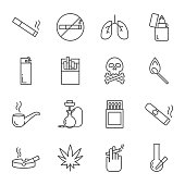 Smoking set of vector icons