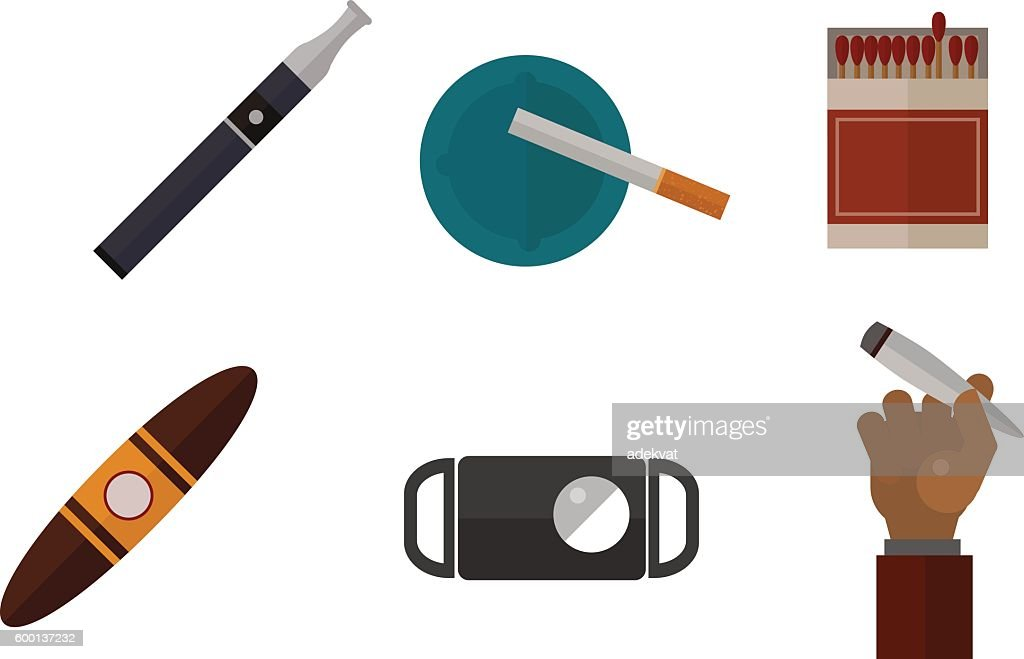 Smoking silhouette vector icons collection