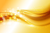 Smooth light gold waves lines and Lens Flares vector abstract background.
