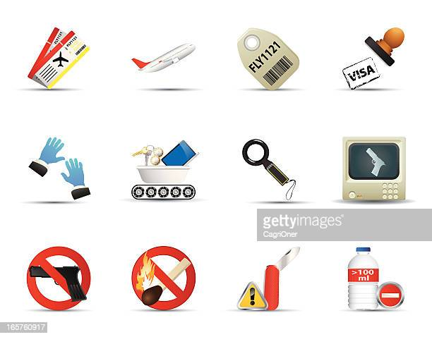 Smooth Silk Icon Set: Airport and Security