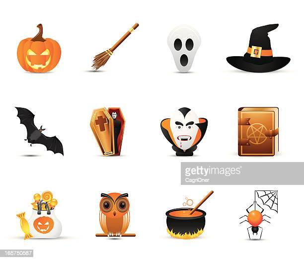 smooth silk icon set: halloween - broom stock illustrations, clip art, cartoons, & icons