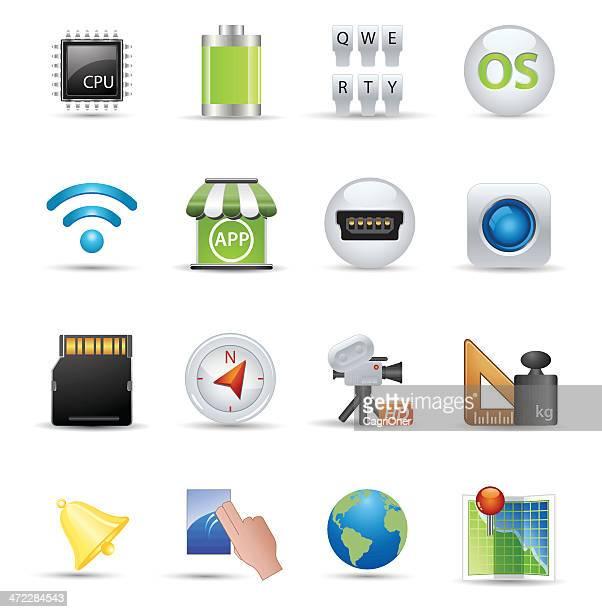 ilustraciones, imágenes clip art, dibujos animados e iconos de stock de lisa iconos de seda: teléfono inteligente de las especificaciones - sistema operativo