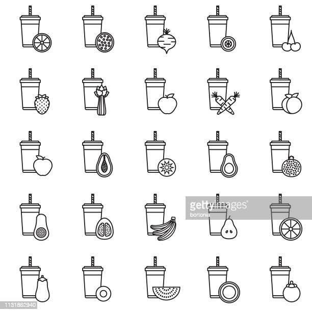 Smoothie Thin Line Icon Sets
