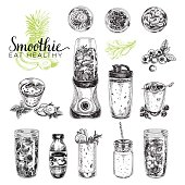 Smoothie vector set. Healthy foods illustrations in sketch style