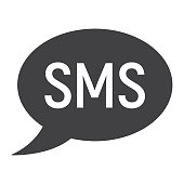 Sms glyph icon, web and mobile, message sign