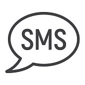 Sms line icon, web and mobile, message sign