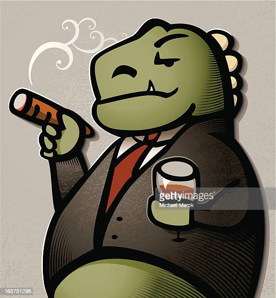smug business dinosaur - cardigan sweater stock illustrations, clip art, cartoons, & icons