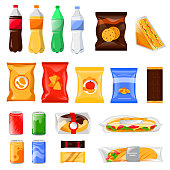 Snack and fast food products set. Cartoon meal and drinks vector illustration, isolated on white background.