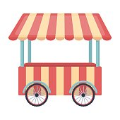 Snack cart icon in cartoon style isolated on white background.
